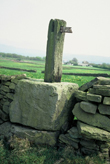 Click to enlarge image of cross base at Cobden Edge used in dry stone wall